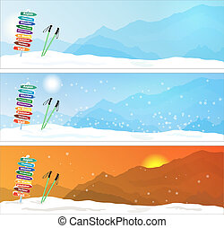 Set of Ski trip Banners with most famous ski destinations