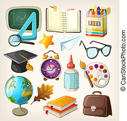 Set of school items Back to school
