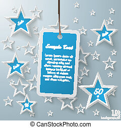 Blue Price Sticker With Stars - Stars with shopping mark on...
