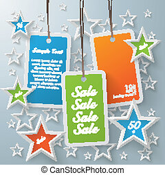 Three Colored Price Sticker With Stars - Stars with shopping...