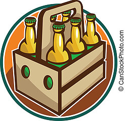 Beer Bottle 6 Pack Retro - Illustration of a 6 pack case...