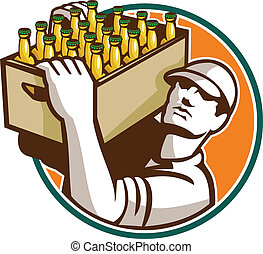 Bartender Carrying Beer Case Retro - Retro style...