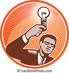 Businessman Holding Lightbulb Woodcut - Illustration of a...