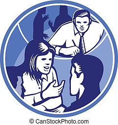 Office Worker Businesswoman Discussion Woodcut Circle -...