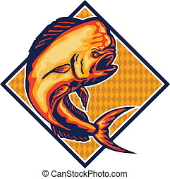 Dorado Dolphin Fish Mahi-Mahi Retro - Illustration of a...