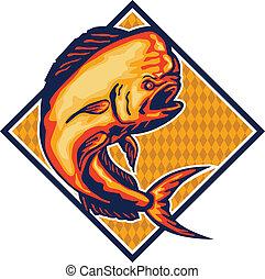 Dorado Dolphin Fish Mahi-Mahi Retro - Illustration of a...