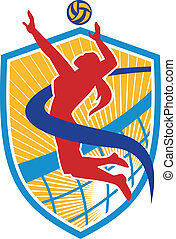 Volleyball Player Spiking Ball Shield - Illustration of a...