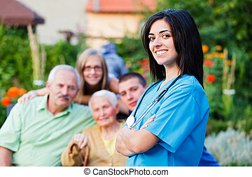 Family Carer - Confident doctor welcoming multigenerational...