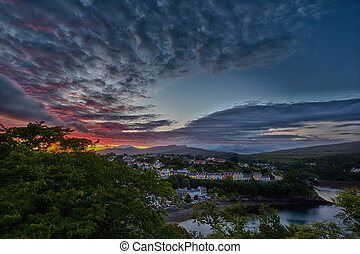 view on Portree before sunset, Scotland - aerial view on...