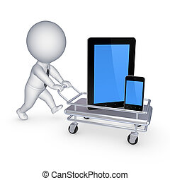 Tablet PC and cellphone on pushcart.Isolated on white.3d...