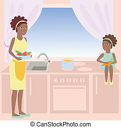 African mother and daughter are cooking soup together in a...