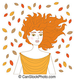 redhead woman - Young redhead woman with plenty autumn...
