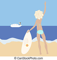 blonde slim girl - Vector illustration of blonde slim girl...
