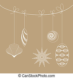Vintage christmas toys hanging on a strings. Objects grouped...