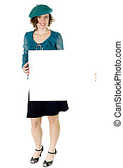 french woman billboard - woman in french style holding blank...