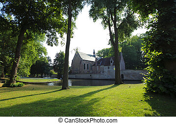 Beguinage in Bruges, Belgium - View of the Beguinage in...