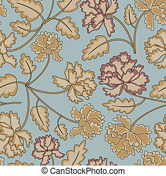 seamless pattern - Vintage peony flowers and leaves seamless...