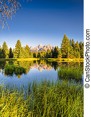 Schwabacher Landing at Daybreak - The Teton range's...