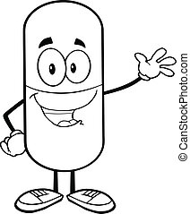 Outlined Pill Waving For Greeting - Black and White Pill...