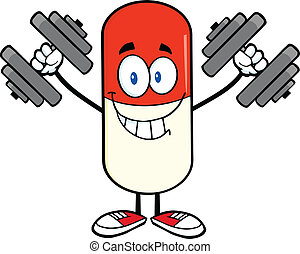 Pill Capsule With Dumbbells - Pill Capsule Cartoon Mascot...