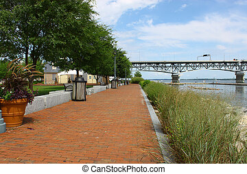Yorktown riverwalk landing running along the york river in...
