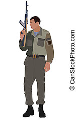 Illustration of soldier holding machine gun. No mesh,...