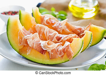 Cantaloupe with Prosciutto Antipasti - Fresh Cantaloupe with...