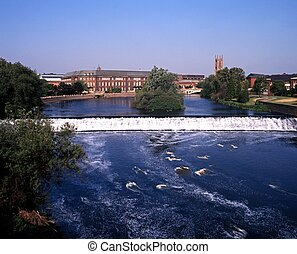 River Derwent, Derby, England. - River Derwent with view to...