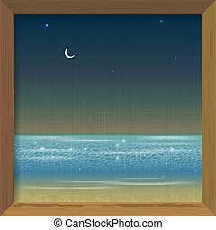 Picture in a wooden frame with a night sea view