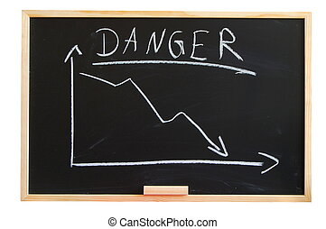 financial crisis - blackboard with negative chart showing...