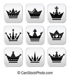 Crown, royal family buttons set