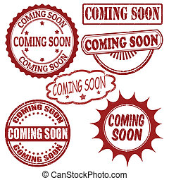 Set of coming soon stamps - Set of coming soon grunge rubber...