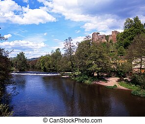 River Teme and Castle, Ludlow. - River Teme and Castle,...