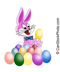 Easter Bunny surrounded by colorful dyed eggs
