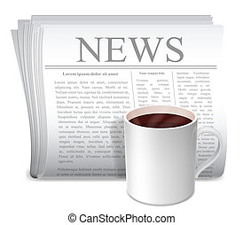 Newspaper and coffee cup - Folded newspaper and white cup of...