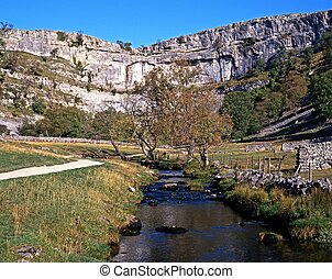 Malham Cove and beck, Yorkshire. - Malham Cove and beck,...