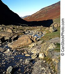 River Derwent, Borrowdale, UK - View along the River Derwent...