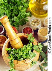 Mortar and pestle with spices - Mortar and pestle, spices on...
