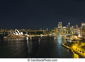 sydney harbour in australia - sydney harbour skyline in...
