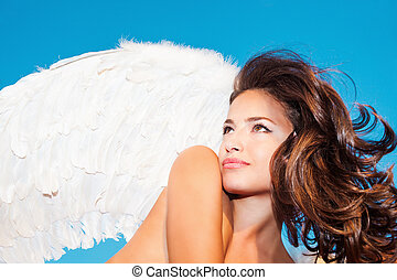 angel beauty - beautiful angel woman with white wings...
