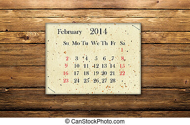 Calendar February 2014 on the wood