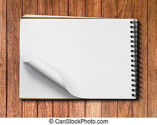 White Note Book Blank Page on Wood Horizontal