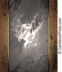 Abstract Metal background with grunge gold edges - The...