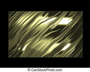 Beautiful gold plate isolated on black background.