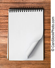 White Note Book Blank Page on Wood Vertical