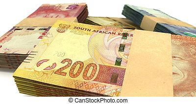 South African Rand Notes Bundles Stack Extreme Close - A...