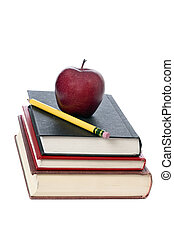 Education - A pile of books with an apple and pencil on top