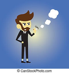 Smoking man vector cartoon style