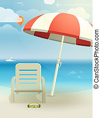 Beach landscape with chair and umbrella