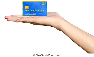 Hand Holding Credit Card - Isolated Girl Hand Holding Blue...